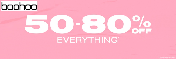 50-80% off everything at boohoo