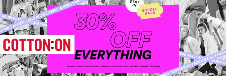 30% Off Everything at Cotton On