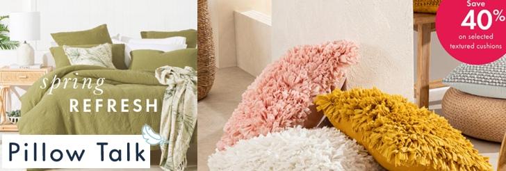 Spring Refresh & textured cushions at Pillow Talk