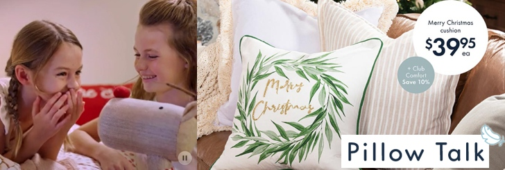 Merry Christmas cushion .95ea at Pillow Talk